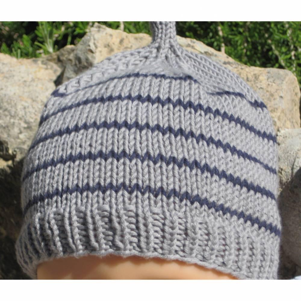Babymützen für Neugeborene gestrickt aus Baumwolle Doppelpack Taupe und Blau Bild 1