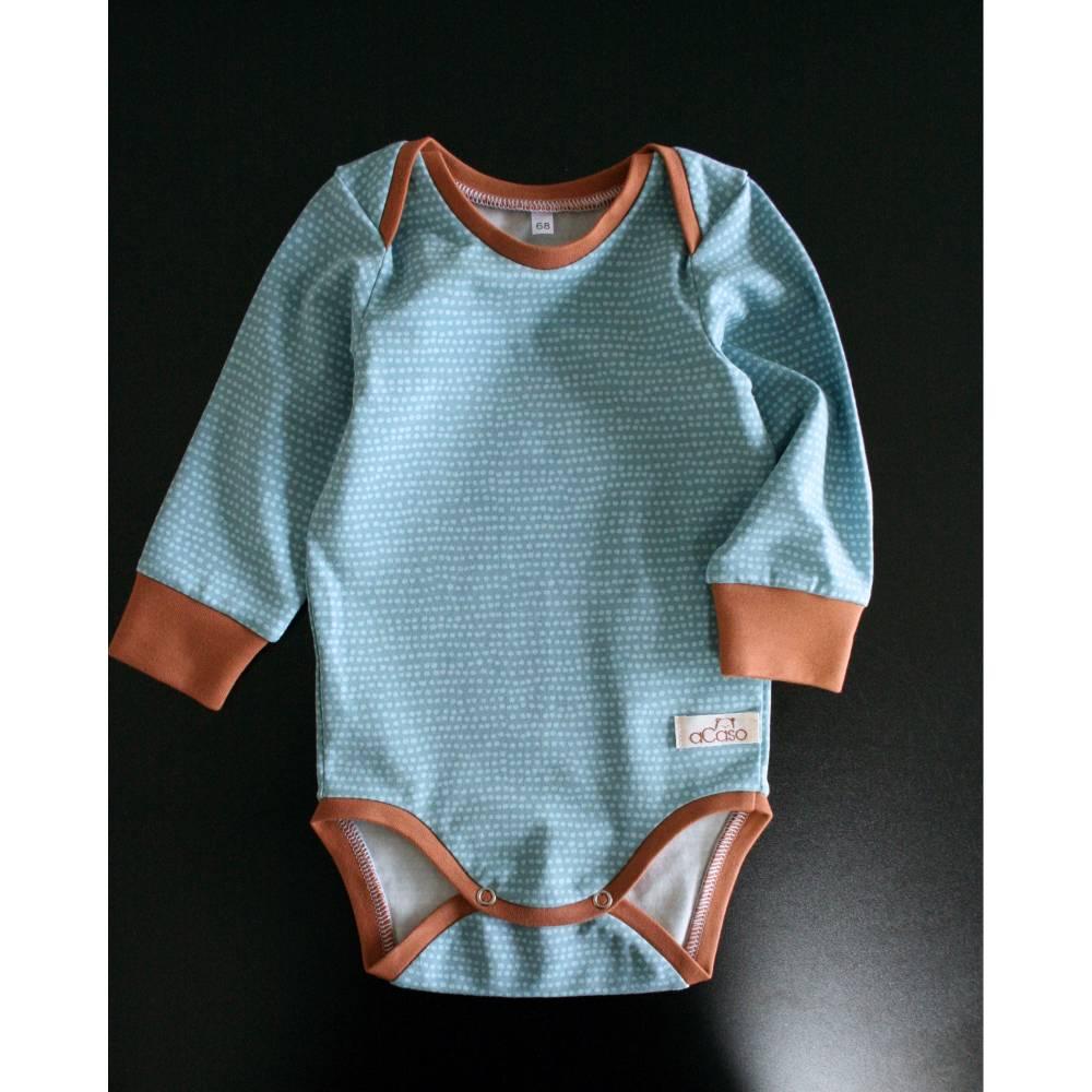 Body für Babys aus BIO Baumwolle mit Schlupfausschnitt und langen Ärmeln Stoff: Dotted Line in Türkis von Stoffonkel Bild 1
