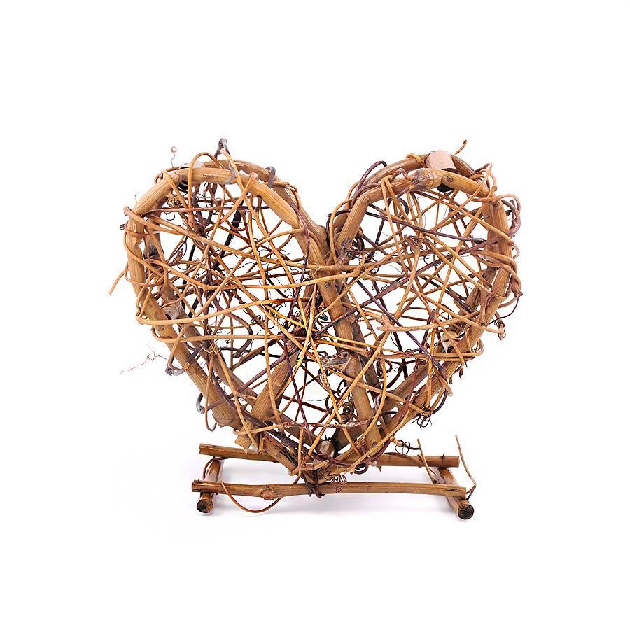 3 Stück Deko-Herzen aus Naturmaterial Weinreben Bild 1