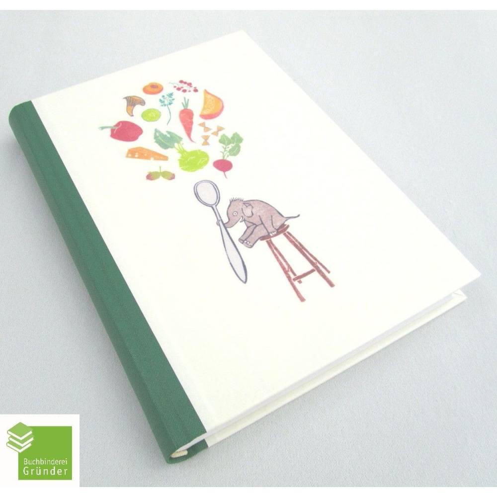 Rezeptbuch mit Illustrationen, hell-grün, DIN A5, 300 Seiten, Kochbuch, Elefant Bild 1
