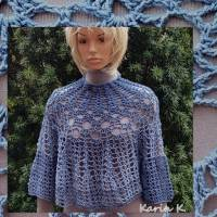 Lace- Tunika luftig gehäkelt im Boho- Style Dunkeljeans Blau Farbverlauf GOMITOLO DENIM Lana Grossa Bild 1