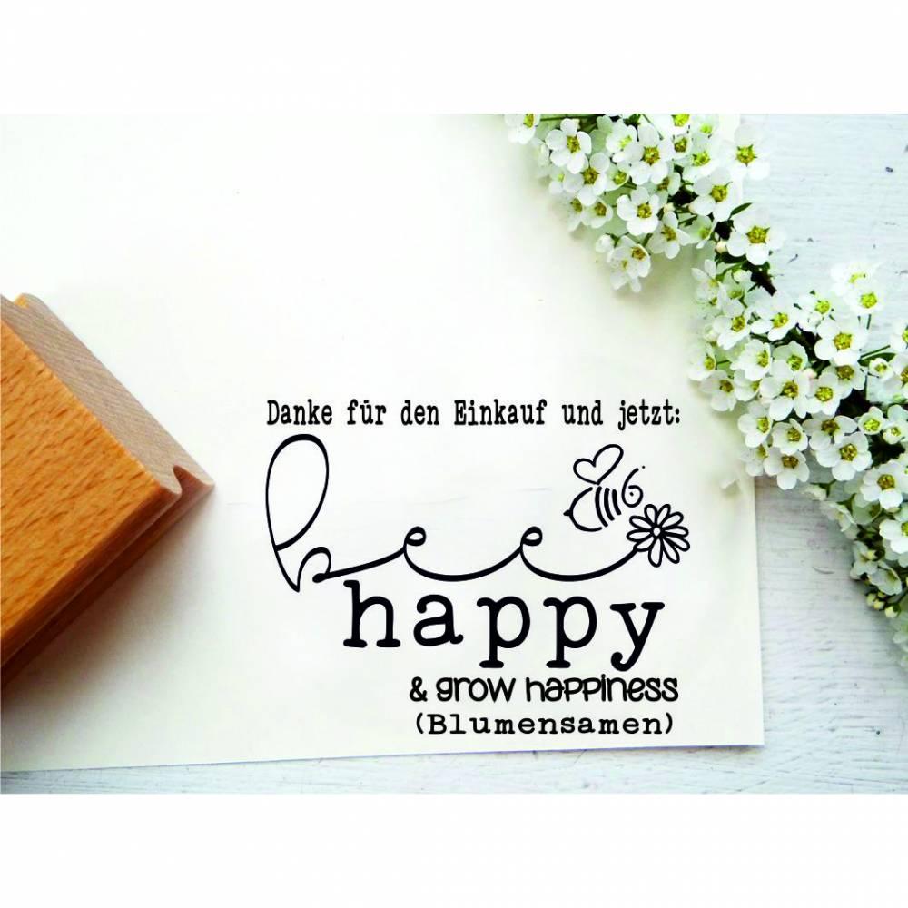 """Stempel """"Vielen Dank für den Einkauf"""" für Saatguttüten, Kundendank, Bienen, Blumensamen Bild 1"""