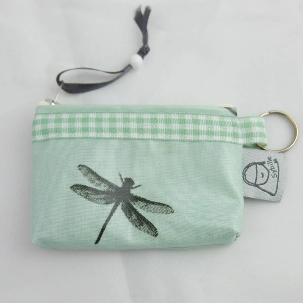 Geldbeutel  für EC-Karte m.Schlüsselring, beschichte Baumwolle, mintgrün mit Libelle Bild 1