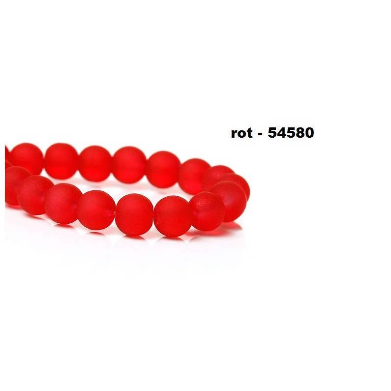 20 Perlen, Glasperlen,  Schmuckperlen, geeist, gefrostet, matt, 6mm, rund, rot Bild 1