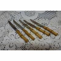 Vintage 5 Obstmesser mit Bambusgriffen Bild 1