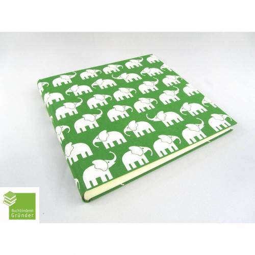 Fotoalbum, groß, apfel-grün, Elefanten, 30 x 30 cm