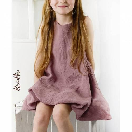 Kleid Leinen Ballonkleid Kleid Mädchenkleid Drehkleid rosa