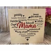 """Holzbild weiß """"Mama"""" 20cm x 20cm x 1,8cm auf Birkenholz WYSIWYG Bild 1"""