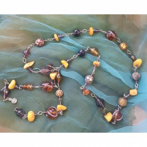 Halskette Glasperlen, Naturstein, Natursteinperlen, Vintageknöpfe