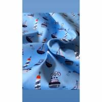 Baumwollstoff Schiffe und Boote, hellblau