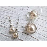 Set Nest Silberdraht,Ring Nest,Anhänger Nest,Ohrringe Nest,Silberdraht gewickelt, Wire Wrap,Silberdraht und Perle, creme Perlen Schmuck Bild 1