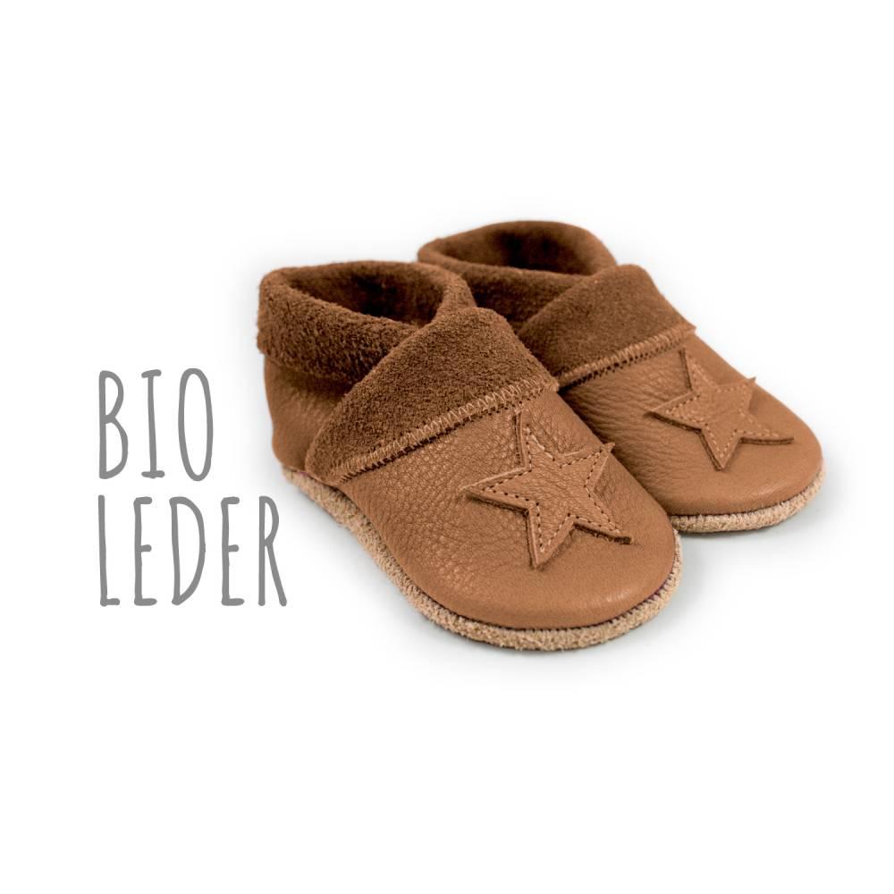Bio Krabbelschuhe minifußBio859, Krabbelpuschen, Lederpuschen, Babyschuhe aus pflanzlich gegerbtem Leder Bild 1
