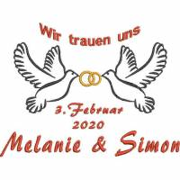 Stickdatei Wir trauen uns Hochzeit Maschinensticken Tauben Ringe Name Datum 13x18 cm Personalisierung Bild 1