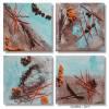 Kleine Kunst auf MDF Block, 4er-Set, moderne Collage in Türkis, Orange, Braun, Dekosteinen und Fäden, Wandbilder im Set Bild 1