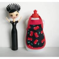 Spülischürze rote Kirschen, Schürze für Spülmittelflasche, Spüliflasche-Schürze, Spülmitteflaschen-Schürze, Spülischürze mit Kirschen,  Bild 1