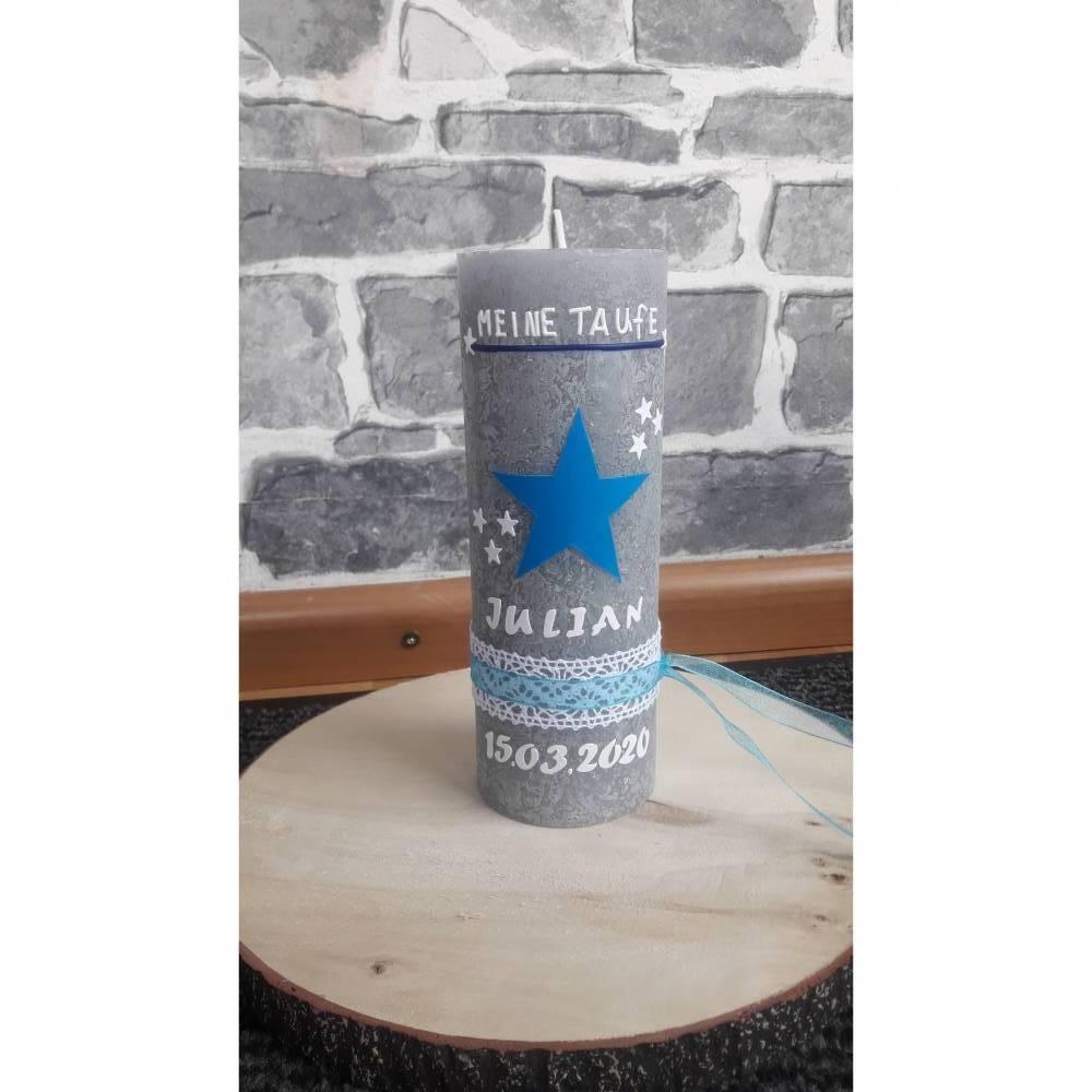 Taufkerze Rustikal Vintage Blau Junge Stern Bild 1