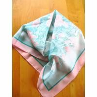 Vintage♥Halstuch in mintgrün-rosa♥mit Blumen♥aus den 70er Jahren♥ Bild 1