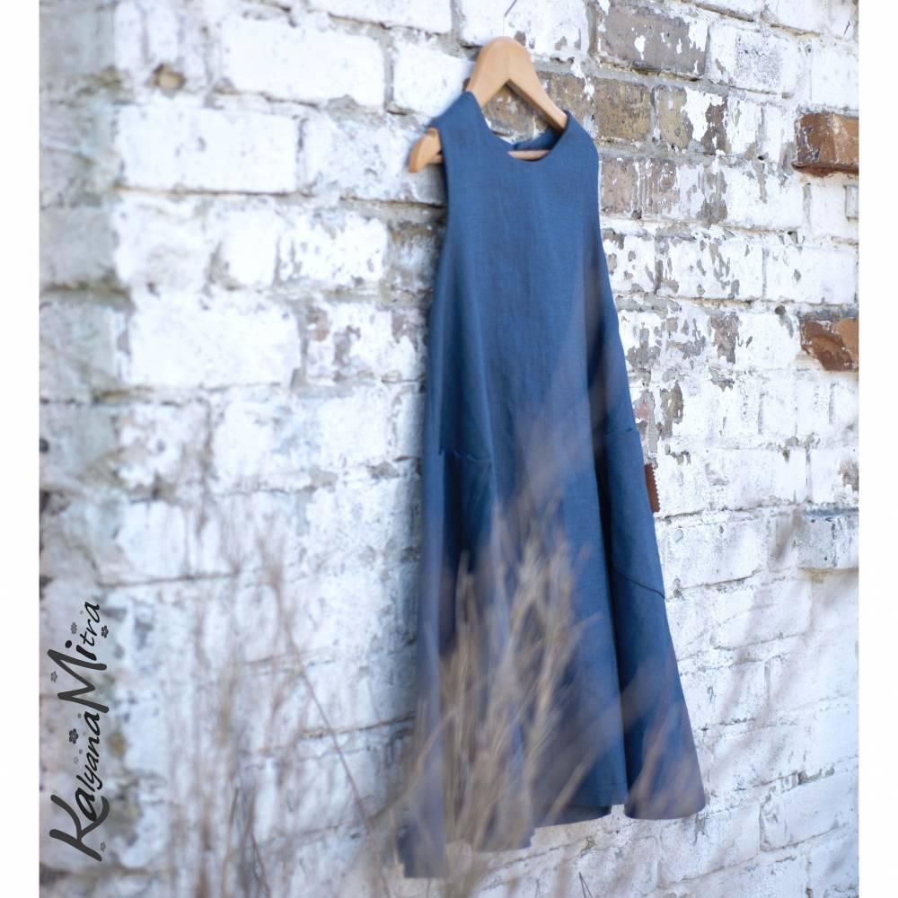 kleid leinen mädchenkleid blau oder türkis