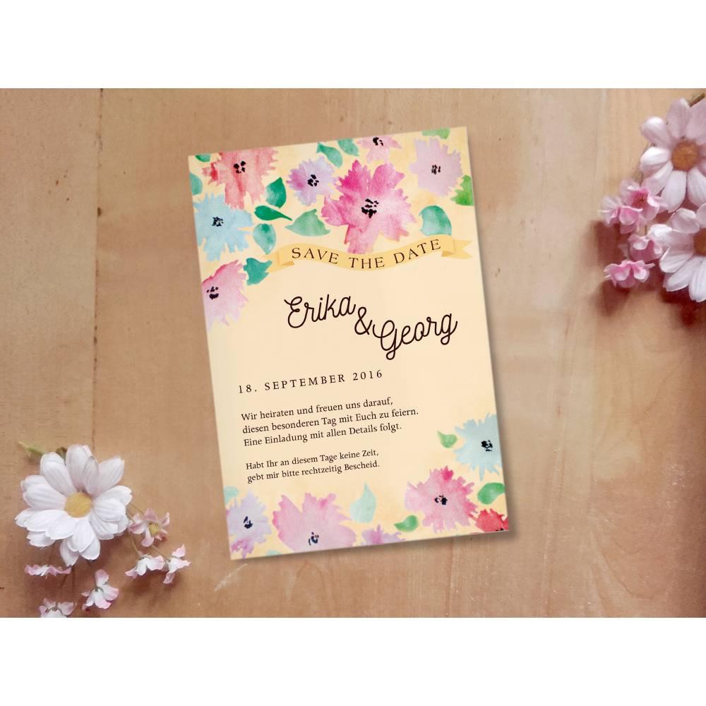 Hochzeitsdesign Aquarell Flowers Printable DIY Bild 1