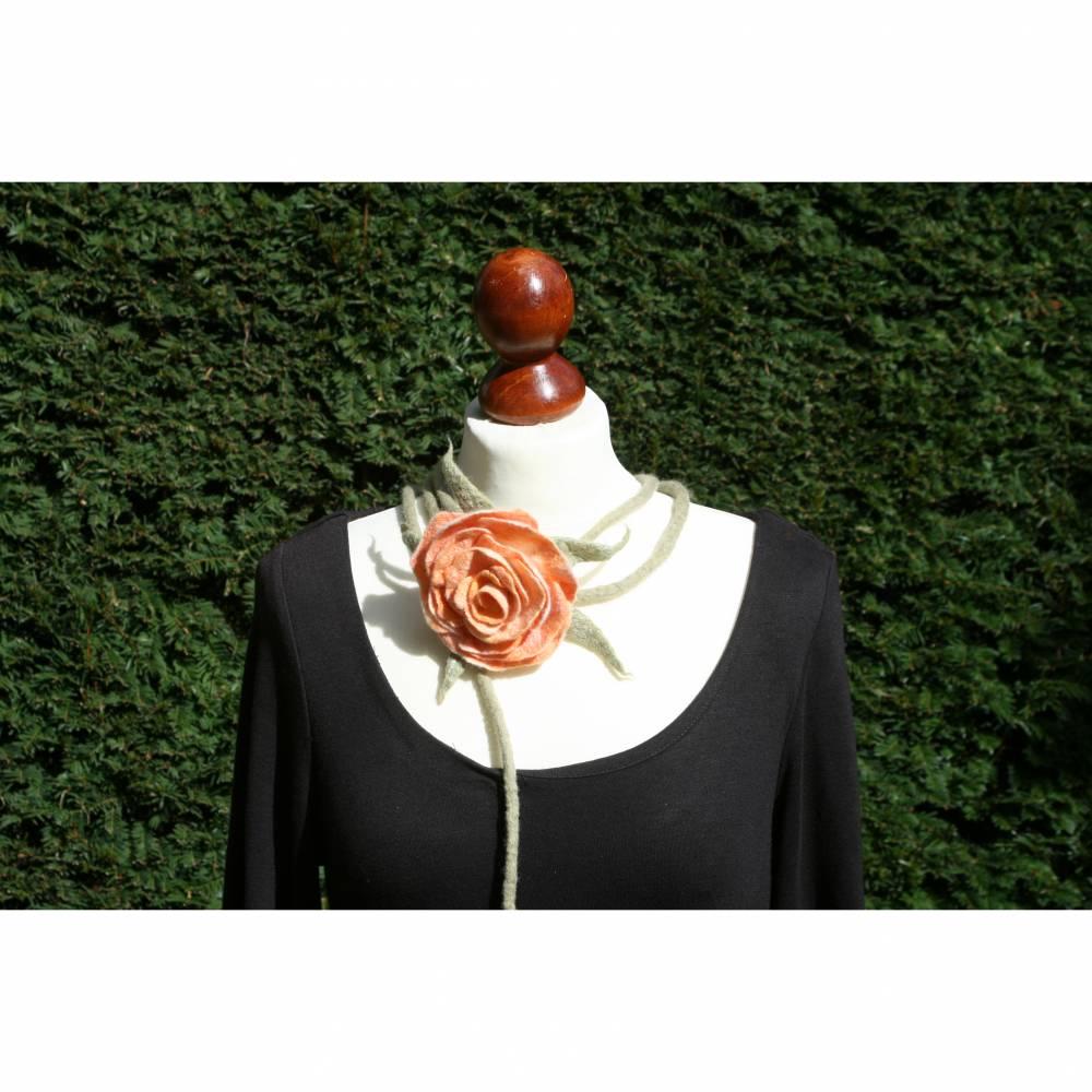 Apricot Rosen Gürtel handgefilzt aus feinster Wolle und Seide  Bild 1