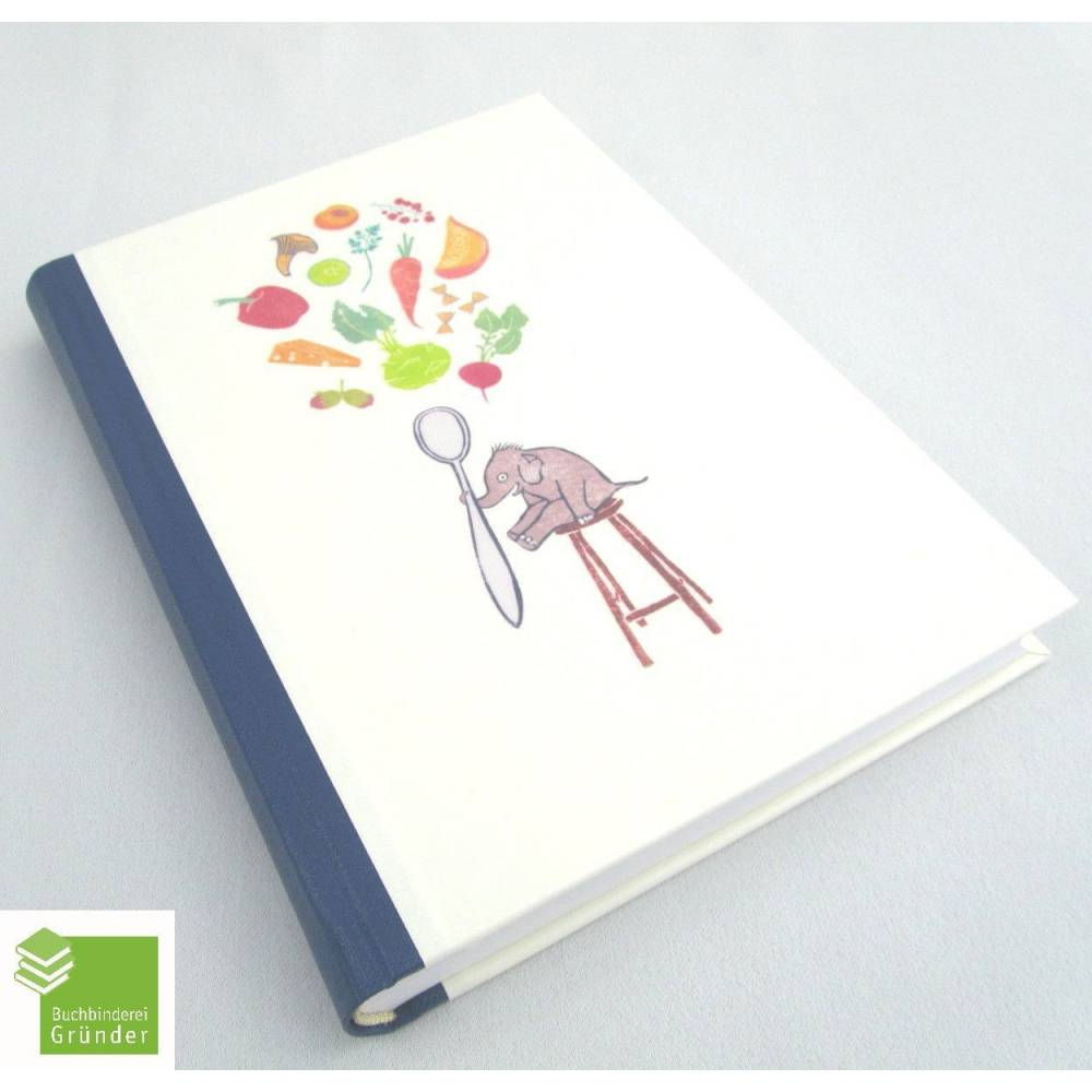 Kochbuch mit Illustrationen, hell-blau, DIN A5, 300 Seiten, Rezeptbuch, Elefant Bild 1
