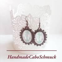 Cabochon Ohrringe Ohrhänger 18x25mm, bronze Fassung, Anker, bunt, Regenbogenfarben Bild 1