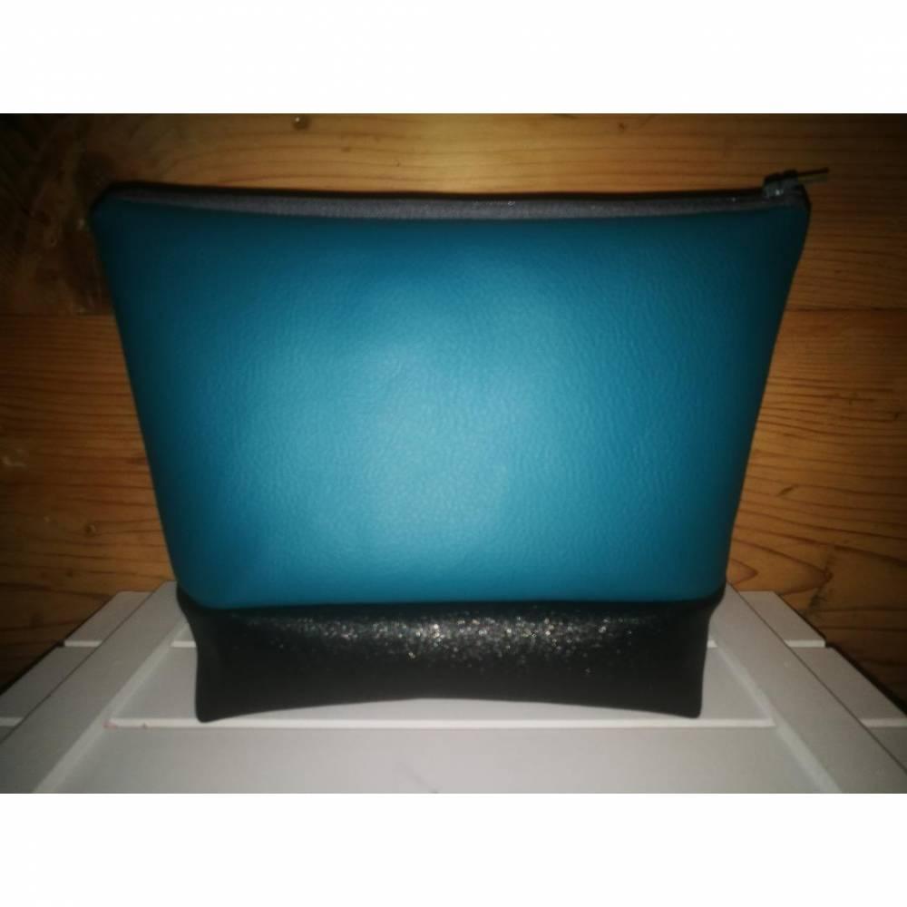 wunderschöne Beautytasche petrol schwarz glitzer Bild 1