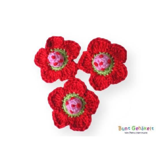 3 Häkelblümchen, Häkelapplikation, Häkelblume, Applikation, Aufnäher, Blumen rot rosa Bild 1