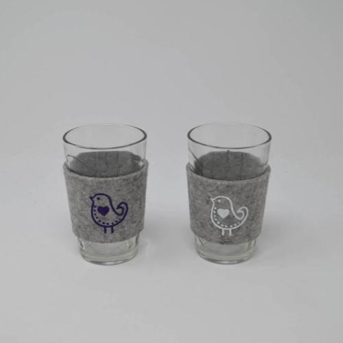 Trinkglasset, Gläser mit Filzmanschette