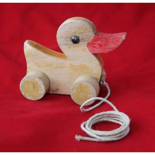 Ente aus Holz zum Ziehen Vintage