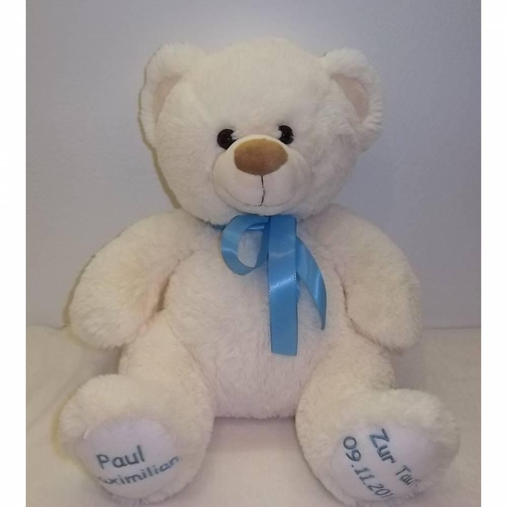 Kuschliger Teddy mit Namen  bestickt Bild 1