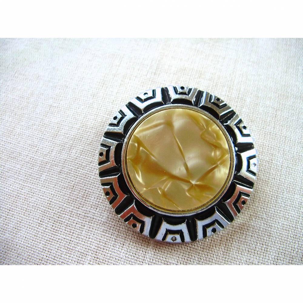 Vintage♥Schalclip♥rund mit Perlmutteinlage♥aus den 70er Jahren♥ Bild 1