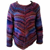 Pullover Damen Blau Braun Marine effektvolle Farbverläufe gestrickt Länge 56 cm Größe 36/38  Bild 1