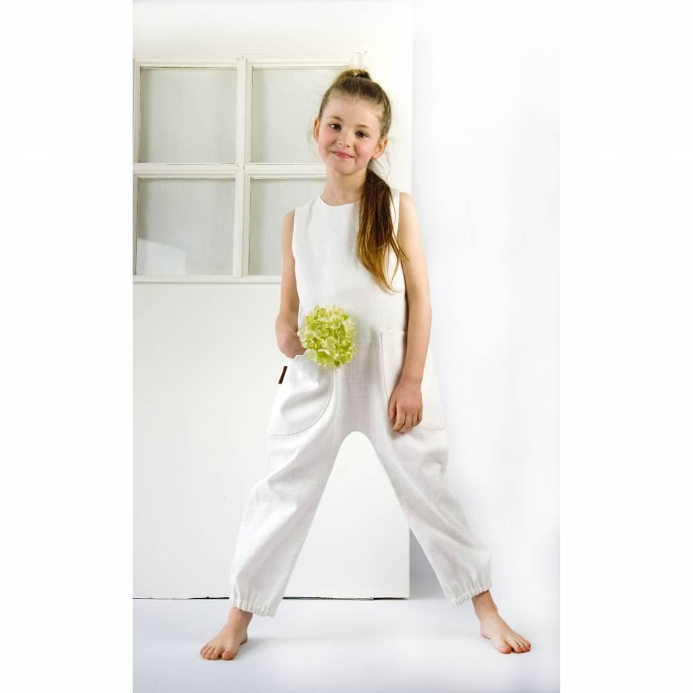 Festlicher Romper Jumpsuit Leinen Kommunion Taufe Hochzeit Kids Bild 1
