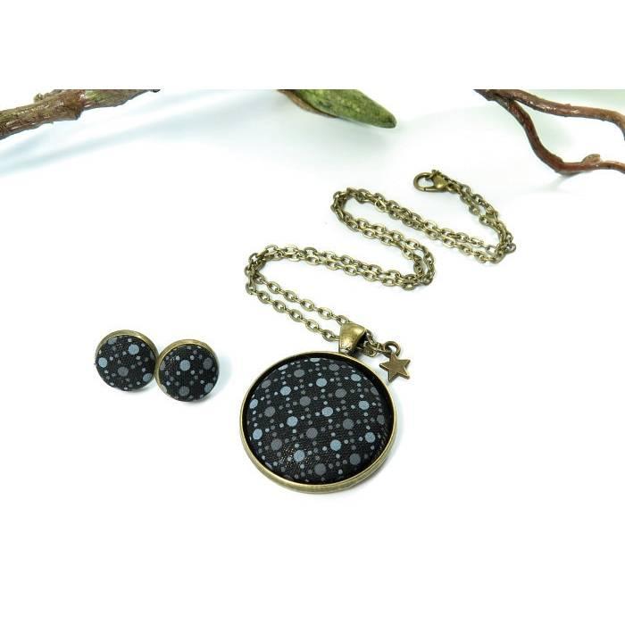 Kette + Ohrringe  Schmuckset schwarz-grau Ohrstecker Geschenkset Bild 1