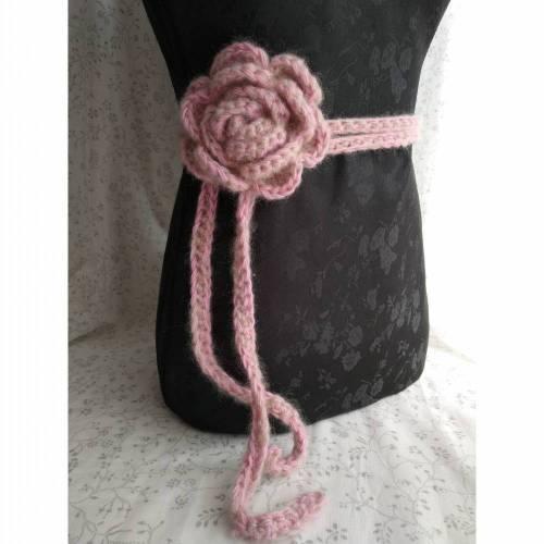 """""""Fluffyrose"""" Rosengürtel / Taillenband aus Mohairmischung, rosa / gold"""