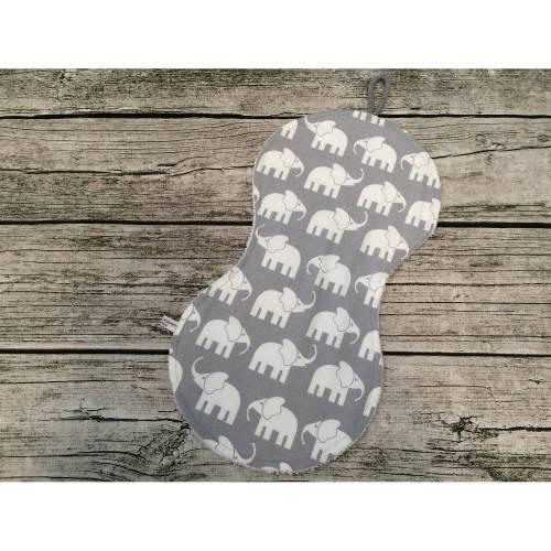 Spucktuch mit Frottee Rückseite, in Grau mit Elefanten