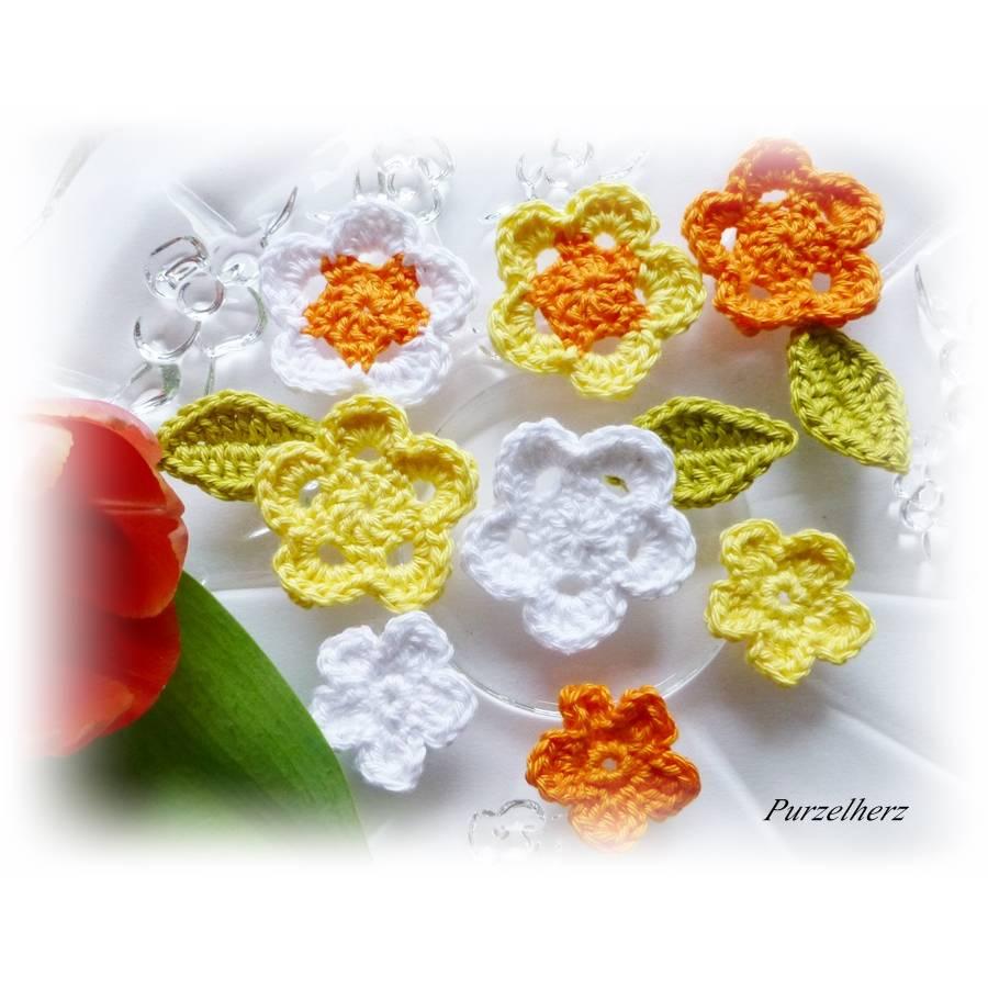 11-teiliges Häkelblumen-Set mit Blättern - Häkelapplikation - Tischdeko - weiß,gelb,grün und orange Bild 1