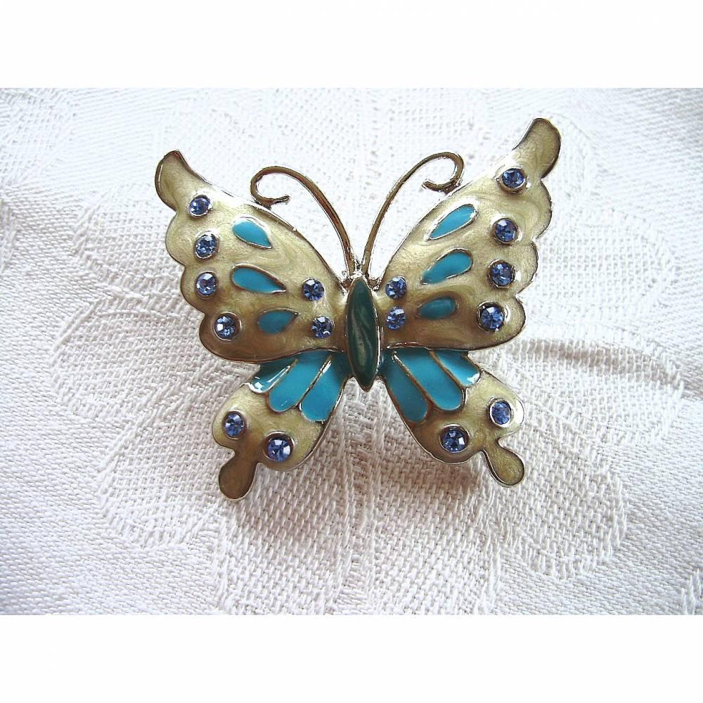 Vintage Brosche Schmetterling mit Emailleinstätzen aus den 70er Jahren Bild 1