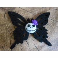 Schmetterling,Rose, Skull Haarspange, Stoff, Halloween, gothic, rockabilly Bild 1