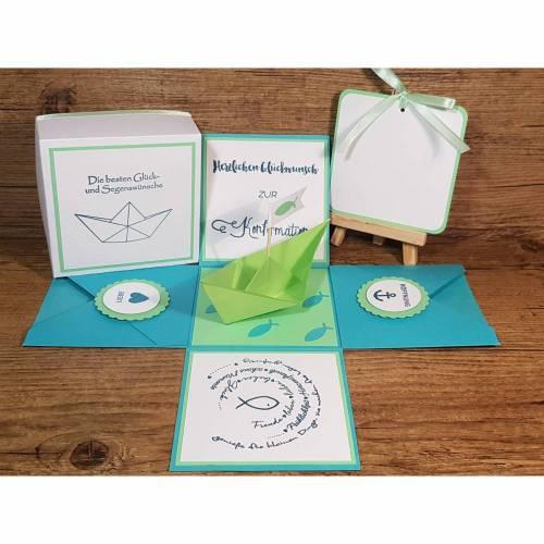 Explosionsbox / Geldgeschenk zur Konfirmation, Geschenkschachtel mit Überraschungseffekt, originelle Geschenkverpackung,Konfirmationsgeschenk