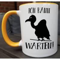 Tasse mit Spruch, schwarzer Humor Kaffeetasse, makaber, lustige Bürotasse, Arbeit Tasse, Spaß Geschenk, Keramiktasse, Geier, böser Blick Bild 1