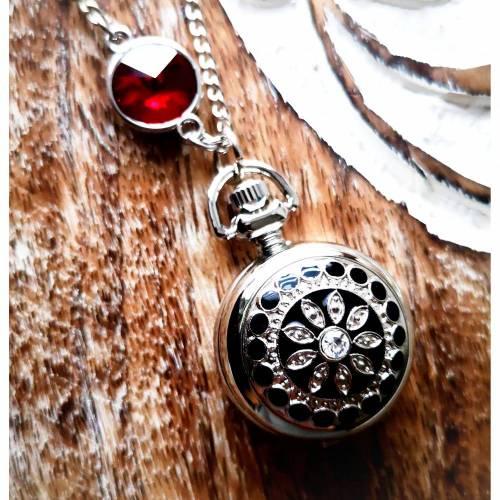 Kettenuhr, Uhr, Damenuhr,  silberfarben,Uhrenkette, Emaille,  Mandala, Halskette mit Uhr