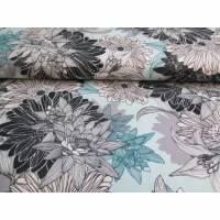 Elastic Satin Druck  Sommerstoff  Blumen auf mint (1m/12,-€) Bild 1