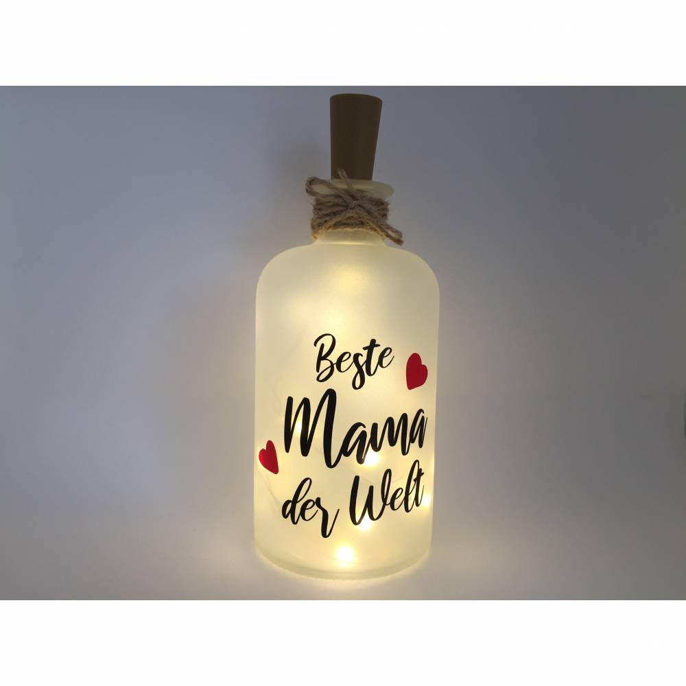 Farbwuselei Flaschenlicht Beste Mama der Welt Bottlelight Dekoflasche Beleuchtung LED Leuchtflasche Lichterkette Geschenk Homedeco modern Bild 1