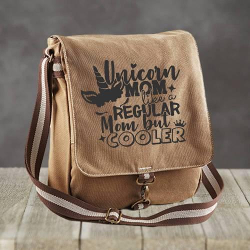 Canvas Messenger Bag - Unicorn Mom