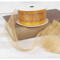 5 Meter Dekoband Organza gelb mit Zweigen, 5cm breit, 1,20€/ Meter Bild 1