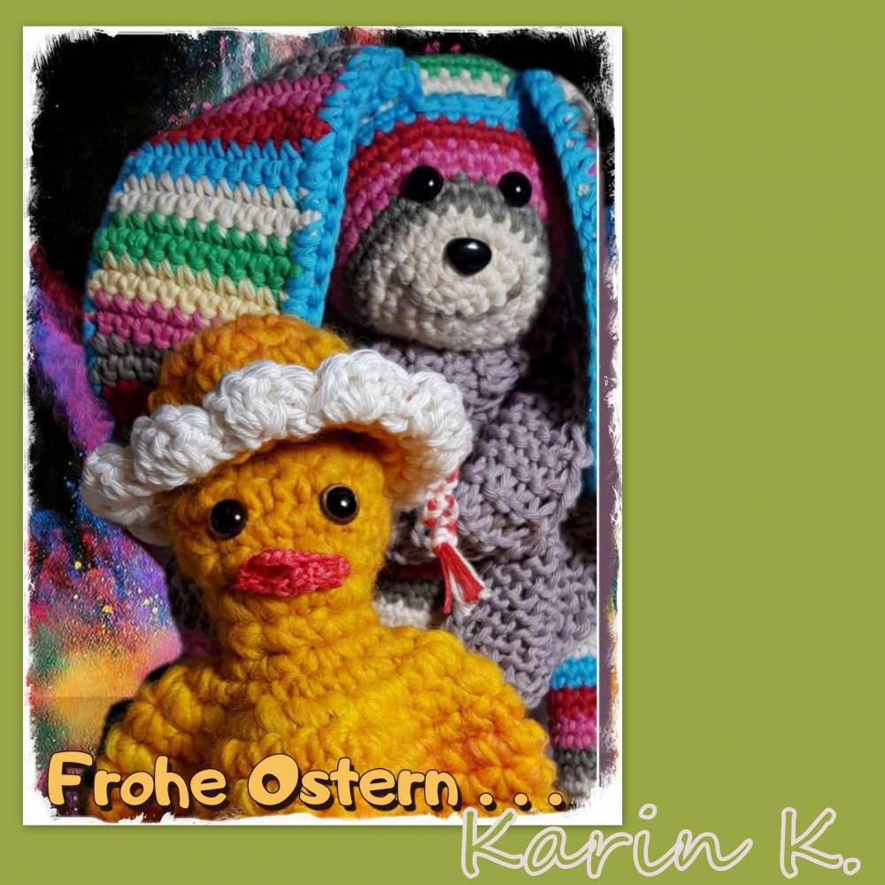 Osterkarten Set 3 Osterkarten mit 3 Briefumschlägen Postkarten- Set Handmade- Grüße zum Osterfest  Bild 1