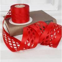 5 Meter Dekoband rot, Rauten, Satin, 7cm breit, 3,20€/ Meter Bild 1