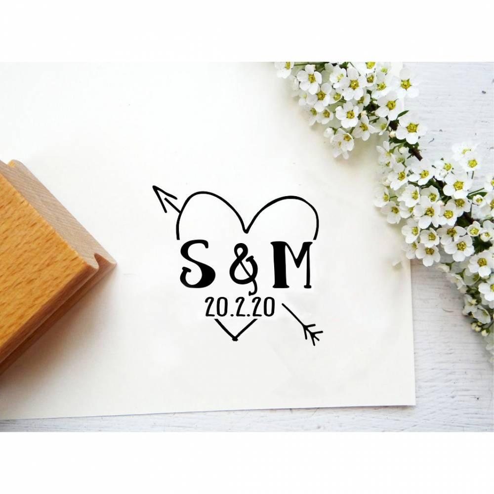 Hochzeitsstempel Stempel Hochzeitseinladung personalisiert mit Name und Datum Bild 1